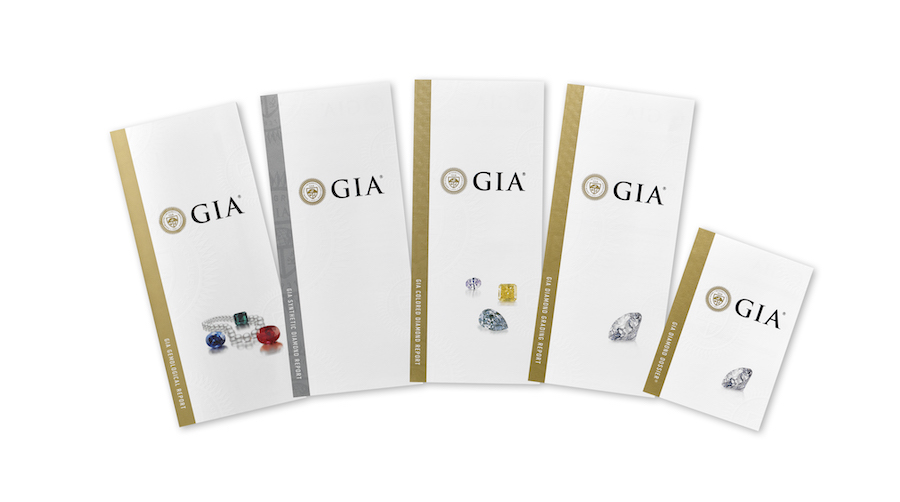 GIA Diamond Grading Report with main components of the report on display and round brilliant cut diamond on the report's front cover.